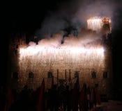 Marostica, VI, Italien - 9. September 2016: Feuerwerke mit Funken Stockbilder