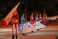 Marostica, VI, Italy - September 9, 2016: flag bearers during ni Royalty Free Stock Photo