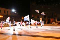 Marostica, VI, Italy - September 9, 2016: flag bearers during ni Stock Photography
