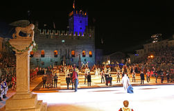 Marostica, VI, Italy - September 9, 2016: human chess game with Stock Photos