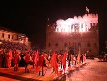 Marostica, VI Włochy, Wrzesień, - 9, 2016: fajerwerki wystawiają z Zdjęcia Royalty Free