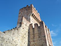 Marostica, Vicenza, Italy. The castle at the upper part of the town on the top of the hill. Wonderful day royalty free stock photography