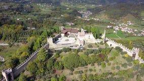 Marostica, Vicenza, Włochy Trutnia widok z lotu ptaka kasztel na wierzchołku wzgórze zbiory