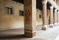Marostica Włochy, Veneto region: wewnętrzna kolumnada kasztel zdjęcia royalty free