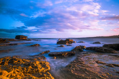Bondi Beach sea coast long exposure at sunset Royalty Free Stock Photography