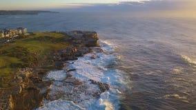 Maroubra Rock Cliff Aerial View stock footage