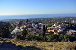 Maroulas Village of Rethymno. With blue background Royalty Free Stock Images