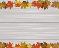 Maple Leaves on wooden texture Royalty Free Stock Photography