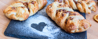 Marple and pecan plait pastry Stock Photography