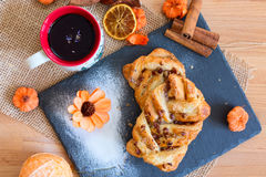 Marple and pecan plait pastry Royalty Free Stock Images