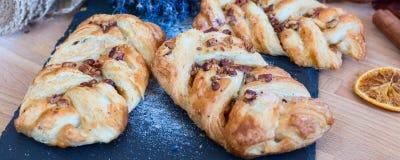 Marple and pecan plait pastry Stock Photo