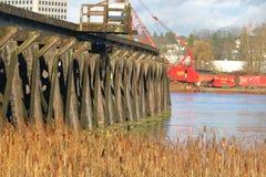 Marpole-Drehbrücke in Vancouver, Kanada Lizenzfreie Stockbilder