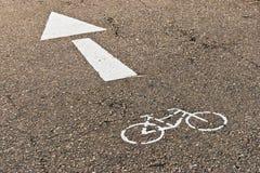 Marquage routier pour des cyclistes Photo libre de droits