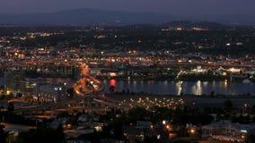 Marquam Bridge Time Lapse. Time lapse of I-5 Marquam bridge traffic during evening, version 3 stock video footage