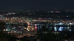 Marquam Bridge Time Lapse. Time lapse of I-5 Marquam bridge traffic at night, version 4 stock footage