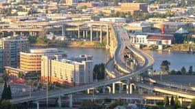 Marquam Bridge Time Lapse. Time lapse of I-5 Marquam bridge traffic during sunset, version 1 stock video