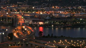 Marquam Bridge Time Lapse. Panning time lapse of I-5 Marquam bridge traffic during evening, version 10 stock video footage