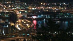 Marquam Bridge Time Lapse. Panning time lapse of I-5 Marquam bridge traffic at night, version 11 stock video