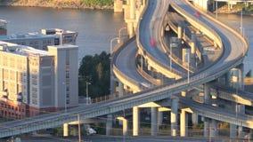 Marquam Bridge Time Lapse. Panning time lapse of I5 Marquam bridge traffic during sunset stock footage