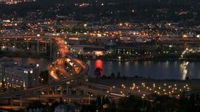 Marquam Bridge Time Lapse. Zooming time lapse of I-5 Marquam bridge traffic during evening, version 7 stock footage