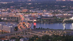Marquam Bridge Time Lapse. Zooming time lapse of I-5 Marquam bridge traffic during sunset, evening, version 9 stock footage
