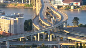 Marquam Bridge Time Lapse. Zooming time lapse of I-5 Marquam bridge traffic during sunset, version 6 stock video footage