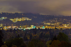 Marquam Hill and Portland Bridges at Night Stock Image