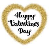 Marquant avec des lettres le jour de valentines heureux dans la forme de coeur de cadre de l'or pour scintiller sur un fond blanc image libre de droits