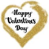 Marquant avec des lettres le jour de valentines heureux dans la forme de coeur de cadre de l'or pour scintiller sur un fond blanc photographie stock libre de droits