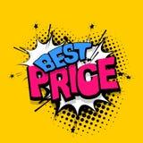 Marquant avec des lettres le meilleur prix, les bandes dessinées de vente réservent le ballon Images stock