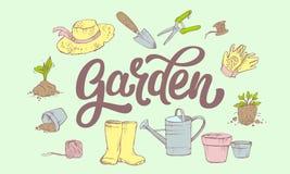 Marquant avec des lettres le mot de jardin entour? par les attributs du jardinier illustration de vecteur