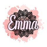 Marquant avec des lettres le nom femelle Emma sur le mandala tiré par la main de Bohème de cadre pour modeler et tendre la couleu illustration libre de droits