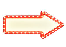 Πλαστό επάνω κόκκινο σημάδι βελών marque με το κενό διάστημα και τις λάμπες φωτός, που απομονώνονται στο άσπρο υπόβαθρο Στοκ Εικόνες