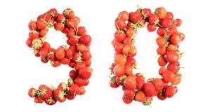 Marque avec des lettres l'alphabet des fraises mûres rouges Photos stock
