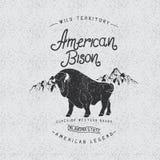 Marque déposée de vintage avec le bison américain Images stock
