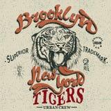 Marque déposée de vintage avec le tigre Photographie stock libre de droits