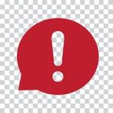 Marque d'exclamation dans la bulle de la parole Signe d'avertissement ou d'attention Icône rouge sur un fond transparent Vecteur illustration libre de droits