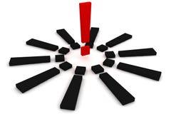 Marque d'exclamation rouge et noire Images stock