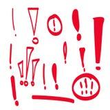 Marque d'exclamation tirée par la main réglée Image stock