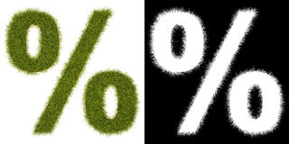 Marque % da grama com canaleta alfa ilustração stock