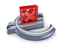 Marque de Croix-Rouge sur un signe d'euro. Image stock