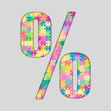 Marque de pour cent colorée par puzzle de puzzle de vecteur Photo stock