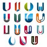 Marque de société de calibre d'icônes de vecteur de lettre d'U illustration stock