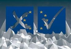 Marque de vote d'Union européenne sur le bas poly surfafe Image stock