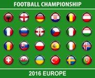 Marque des boutons du championnat 2016 du football illustration libre de droits