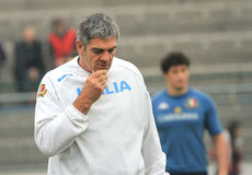 MARQUE el primer entrenador de MALLETT (RSA) del rugbi de Italia Fotografía de archivo libre de regalías