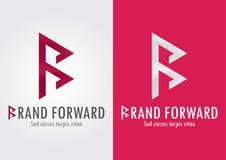 Marque en avant Lettre de B avec un symbole en avant à s Photos libres de droits