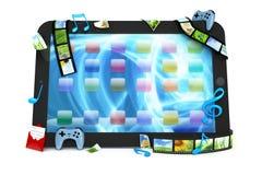 Marque en la tableta el ordenador con películas, música, y juegos Foto de archivo