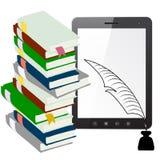 Marque en la tableta el ordenador de la PC con una pluma y la tinta con los libros Fotos de archivo