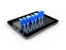 Marque en la tableta la PC con la muestra de WWW aislada en blanco Imágenes de archivo libres de regalías